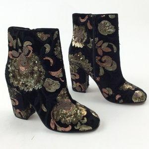 New Aldo Fiery Brocade Sequin Ankle Boot
